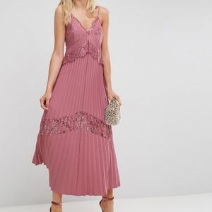 ASOS Size 6 Pleated Pink Maxi with Lace Incerts